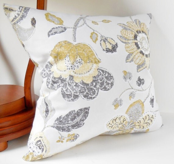 Modern Pillow Covers Etsy : Items similar to Pillows, Decorative Throw Pillows, Large Yellow Flowers, Light Gray on Light ...