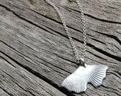 Silver Ginkgo Leaf Pendant.  Fine Silver Leaf Necklace. Sterling Silver Chain.  Organic Fine Silver Jewelry.