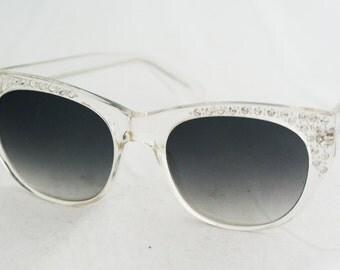 Sunglasses - Cat Eye Clear Hand Made Plastic Rhinestone 1970s Feminine
