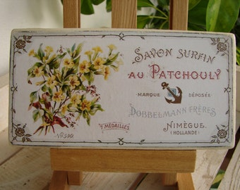 vintage Patchouly soap label on wood,shabby chic,vintage French,savon surfin sign