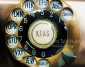 Art for Antique Phone Collector, Copper Plate Antique Danish Rotary Dial Square Fine Art Photography Print or Gallery Canvas Wrap Giclee