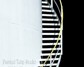 Black White Yellow Modern Contemporary Industrial Architecture Spiral Stairs Petrol Tank Fine Art Photo Print or Gallery Canvas Wrap Giclee