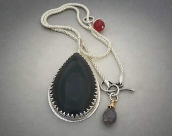 Rainbow Obsidian Sterling Silver Pendant Necklace