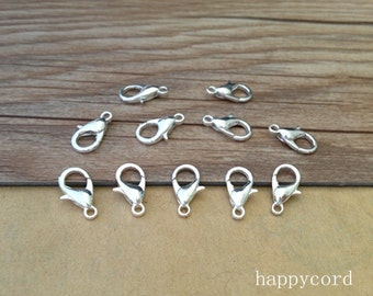 100pcs Silver color lobster Clasps 6mmx12mm