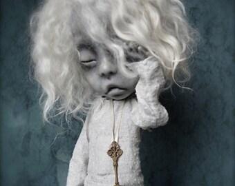 Giclee Fine Art Print. Dark Alley BJD Art Doll. Sleepy girl.