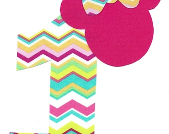 Minnie Mouse applique with bow and number- iron on DIY