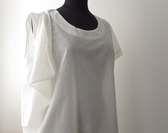 SALE White Cotton Asymmetric Drape Top OS