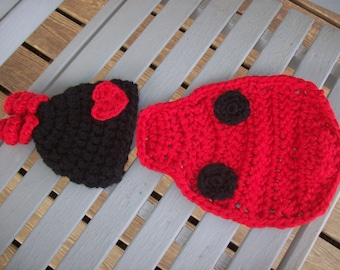 Photo Prop,Ladybug,Baby,Babies,Red,Black,Infant,Infants,Photos,Gift,Pictures,Crocheted,Children