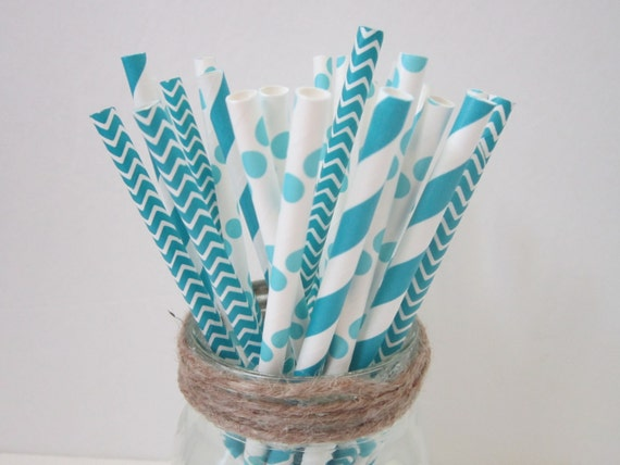 Peacock ~ Dark Aqua ~ Blue Paper Party  Drinking Straws ~ Wedding ~ Baby Shower ~ Set of 25 or 50