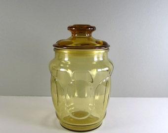 Vintage Lidded Glass Jar Canister - Harvest Gold