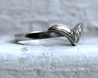 "Vintage ""V"" Shaped 14K White Gold Diamond Wedding Band."