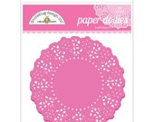 Bubblegum Pink Paper Doilies 4.5 Inch Set of 75 by Doodlebug Designs for Scrapbooks, Crafts, Food Crafts, and More