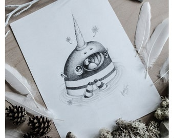 PRINT Fine ART Drawing Illustration Pencil Drawing Graphite Nursery Home DECORATION Postcard Kawaii - Fairy Dust