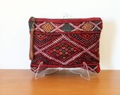 Antique kilim wristlet, oversized handbag, festival boho clutch, leather and Moroccan rug. With detachable strap or tassel. Ready to ship