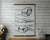 Vintage Minimalist Rock, Paper, Scissors Pull Down Chart Reproduction with Canvas Print and Oak Wood and Brass Hanger,
