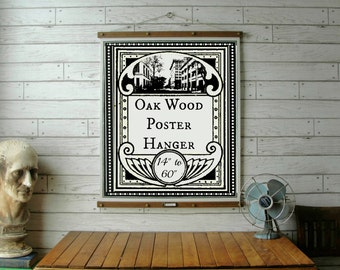 "Oak Wood Poster Hanger 14"" to 60"" / Vintage Chart Reproduction / Art Print Frame / Quilt and Textile Hanger /Organic Milk Paint & Wax Finish"