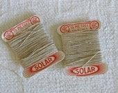 French linen thread on original cards - Solar fil de lin -  vintage haberdashery supplies