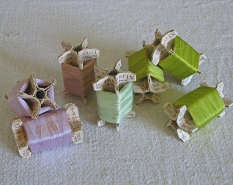 French thread card reels with green, lilac and beige threads -  vintage haberdashery supplies