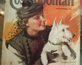 Hearst's International Cosmopolitan Magazine Cover November 1937 or 1939 Cover only. Frame it or Decoupage it. Scotty Do