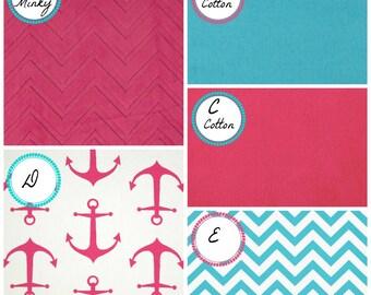 Crib Bedding Nautical Anchors Crib bedding Baby Bedding Crib Set Hot Pink Anchors and Aqua chevron minky