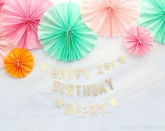Happy 1st Birthday Gold Glitter Paper Banner Garland- Birthday Party Decorations