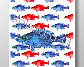 Nautical print poster FISH - sea life Mixed media Decorative art painting drawing illustration POSTER - Rococco-LA print