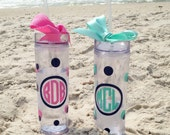 16 oz acrylic personalized tumbler with coordinating ribbon