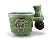 Celtic Knot Wet Shaving Set: Green Shave Mug, Black Badger Hair Brush, Pottery Husband Gift for Irish or Celts - Ready to Ship