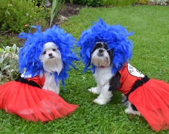 Custom / Made to order Dr. Seuss Inspired Thing 1 or Thing 2 costume for your xsmall-medium size dog