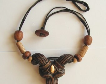 Hand carved wooden necklace with natural baltic amber animal head unique jewelry eclectic fashion boho style tribal