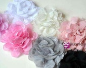 The Abigail Collection - Medium Size Flowers - Shabby Chiffon and Lace Puff Flowers - You Pick Colors Wholesale Blossom Supplies Frayed Rose