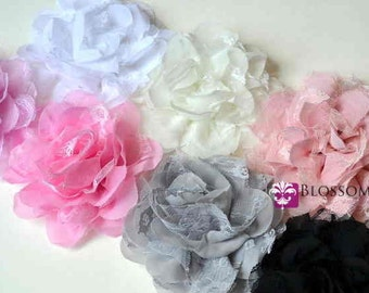 Sets of 2 and 5 - The Abigail Collection - Medium Size Flowers - Shabby Chiffon and Lace Puff Flowers - You Pick Colors