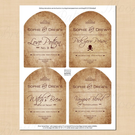 antiqued halloween magic potion wine labels text editable