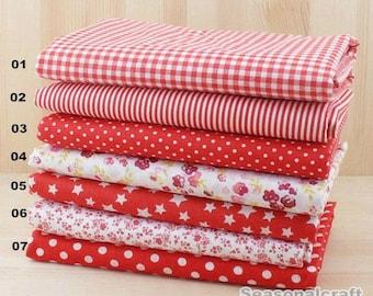 "Red Bundle Deep Red Cotton Fabric Bundle- Red Fabric Fat Quarter Bundle, 7 Fat Quarters Pieces each 19""X19"" (QT518-M)"