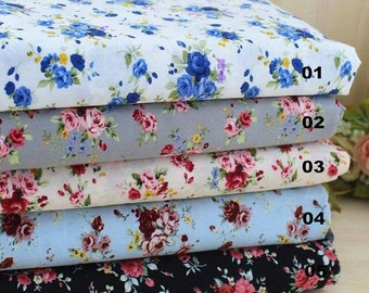 Rose Fabric Flower Fabric,Shabby Chic Style Cotton, Black White Grey Blue Floral Cotton Fabric 1/2 Yard(QT522)