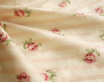 Rose Cotton Fabric Flower Fabric,Shabby Chic Flower Fabric, Floral Cotton Fabric 1/2 Yard(QT517)