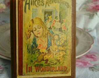 Alices adventures in Wonderland vintage print on recycled wood unique home decor antique art