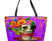 20% Off Today Skull In A Pink Tea Cup with Flowers Handbag - Fashionable - Skull and Roses Quirky - Colourful - Limited Edition - Unique