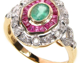 Art Deco Emerald Ring, 10k 9k Antique Style Ruby Diamond Ring, 9ct Solid Gold Ruby Ring, Vintage Emerald Womens Custom R73
