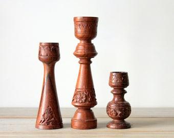 Vintage boho carved wood candle holder set / candle holder set / ornate ethnic style home decor / eclectic rustic wooden candlestick holders