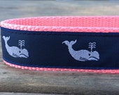 Vineyard Whales Navy & Pink Collar 1 in wide