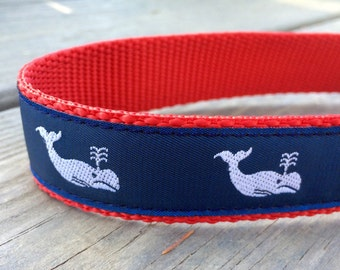 Vineyard Whales Navy & Red Collar 1 in wide