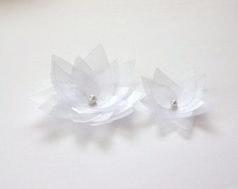 2 Snow White Organza Flowers Embellishment