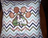 """Furr-Ever In My Heart -- PAW PRINT -  PERSONALIZED Pet Pillow Cover  --  14""""x14"""""""