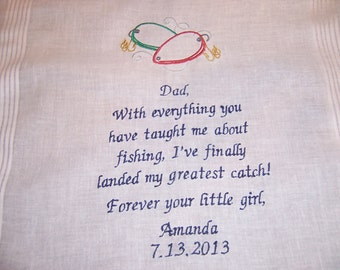 MED. size design in center of hankie.....Father of the Bride Hankerchief - Fishing Lures -- Plus 21 words...