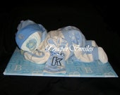 "Sleeping Diaper Baby Boy 19"" inches Long Diaper Cake"