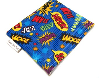 Reusable Snack Bag, Super Hero Snack Bag, Back To School Snack Bag, Eco Lunch Container, Super Hero Comic Reusable Sandwich Bag