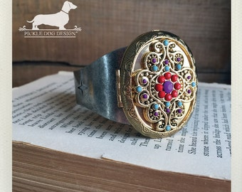 Boho. Locket Cuff Bracelet -- (Vintage-Style, Two-Toned, Antiqued Silver, Gold, Bohemian, Indie, Rustic, Multicolor, Birthday Gift Under 40)