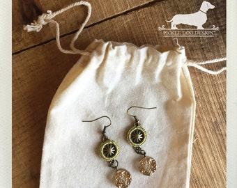 Golden Drop. Dangle Earrings -- (Vintage-Style, Gold, Feminine, Brass, Rustic, Elegant, Romantic, Pretty, Boho Chic, Birthday Gift Under 10)