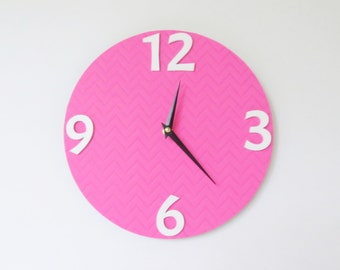 Pink Wall Clock, Silent Clock, White Number Clock, Chevron Design, Home and Living, Home Decor, Decor and Housewares